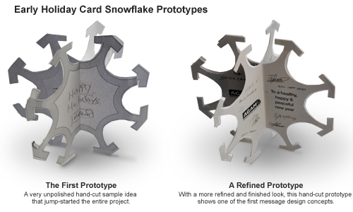Early Holiday Card Snowflake Prototypes